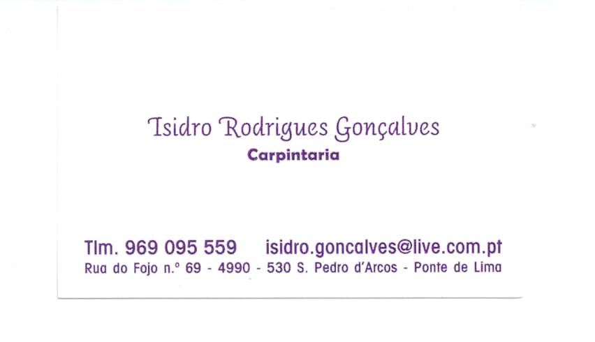 CARPINTARIA - Isidro Rodrigues Gonçalves